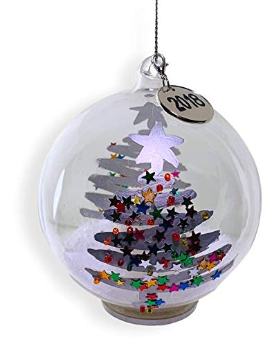 BANBERRY DESIGNS Dated Christmas Ball Ornament - 2018 Charm with a Whimsical Xmas Tree Design - LED Light Up Globe Ornament Set ()