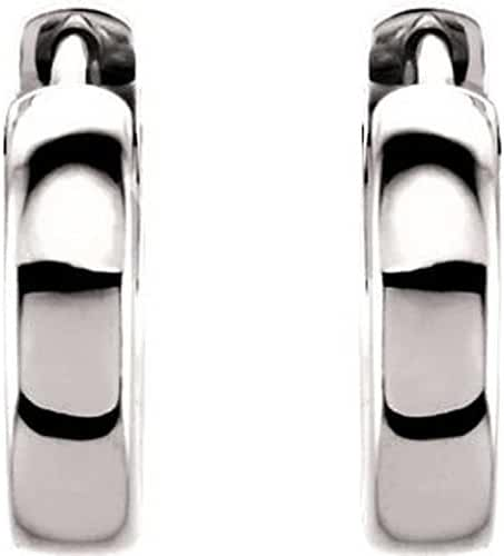 Platinum 14mm Hinged Hoop Earrings