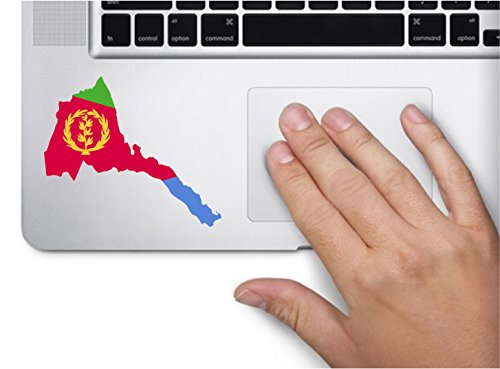 Map with flag inside Eritrea 3x3.6 inches sticker decal die cut vinyl - Made and Shipped in USA