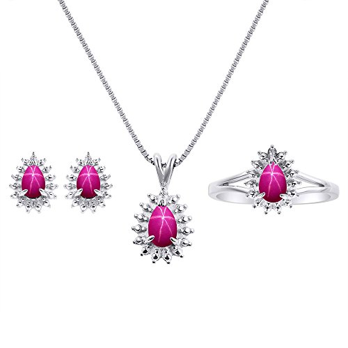 Ruby Star Ring - Star Ruby Matching Earrings, Pendant Necklace and Ring Set In Sterling Silver .925 with 18