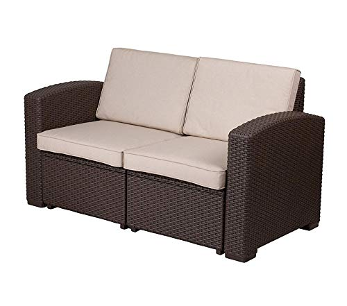 Wood & Style Office Home Furniture Premium Chocolate Brown Faux Rattan Loveseat with All-Weather Beige Cushions