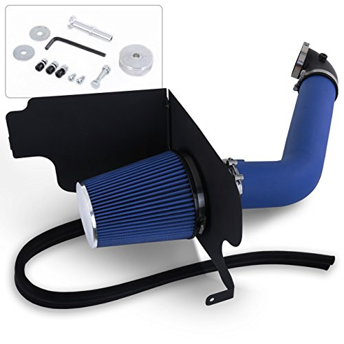 For Ford F150 F250 Lincoln Mark Lt 5.4L 5.4 Liter V8 High Flow Induction Air Intake System + Heat Shield Blue Wrinkle Piping Kit ()