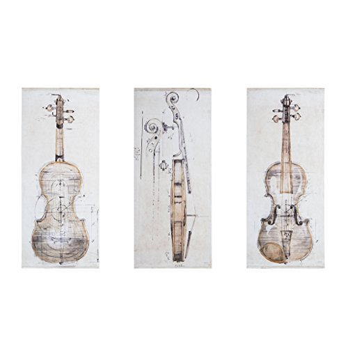 Study Set Printed Canvas with Hand Embellishment 3 Piece Set Offwhite See Below ()