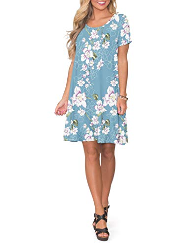 KORSIS Women's Summer Floral Dresses Short Sleeve Tunic T Shirt Swing Dresses Flower Light Blue L