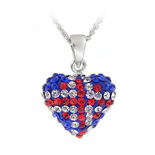 (Glitzs Jewels Sterling Silver Crystal Fireball English Flag Heart Necklace, 18'')