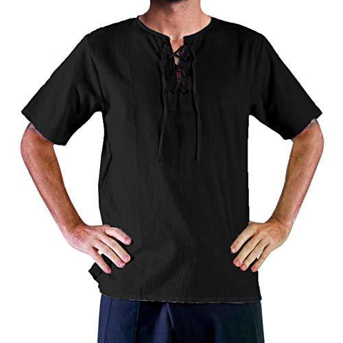 Mens Medieval Pirate Lace Up Short Sleeve Shirts Viking Tee Renaissance Costume Mercenary Cosplay T Shirts Tops Black]()