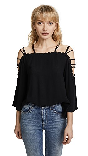 Ella Moss Women's Strappy Sleeve Top, Black, XS (Wrap Moss Ella)