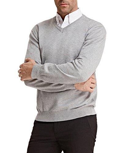 Men's Stylish Knit Sweater Long Sleeve V-Neck Size S Light Grey