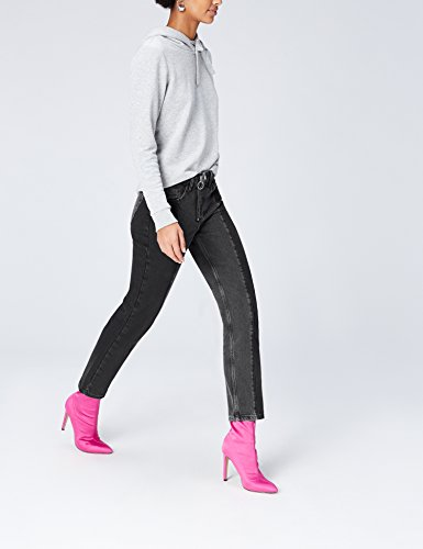 Zip with Women's Jeans FIND Straight Black Denim Mixed pull Grey Ring Dark qX8Od8