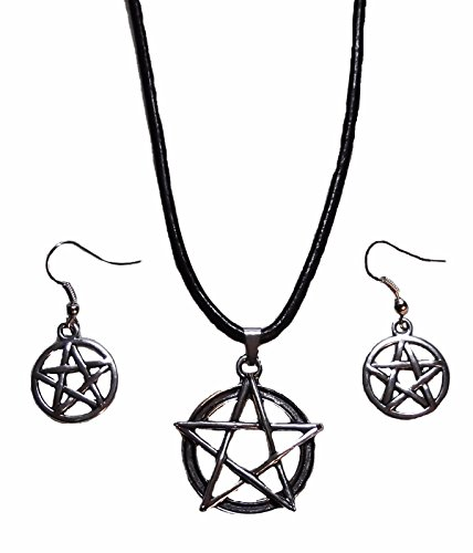 Castiel Wings Costume (Supernatural PENTAGRAM Silvertone French Wire EARRINGS + NECKLACE Set)