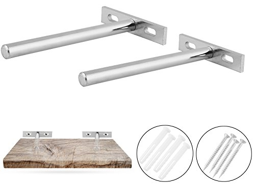 Flynn+Ellie Co. Solid Steel Shelf Brackets for Floating Shelves - 5 inch Invisible Shelf Bracket - 2 Pack of Shelf Brackets with Screws - Hardware ONLY Shelf not Included