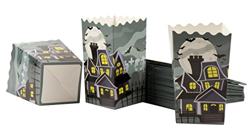 (Popcorn Boxes - 100-Pack Halloween Party Mini Paper Popcorn Containers, Party Supplies for Horror Movie Nights, Kids Birthday, Haunted House Design, 3.3 x 5.6 x 3.3)