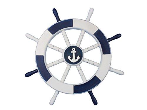 Hampton Nautical  Dark Blue & White Decorative Ship Wheel with Anchor 18