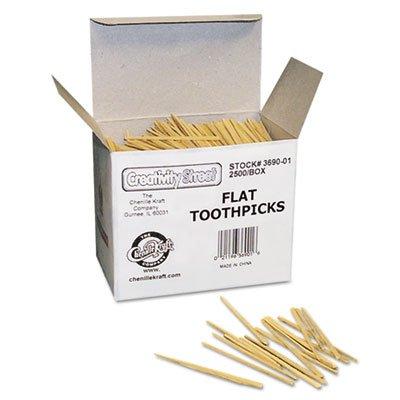 Chenille Kraft : Flat Wood Toothpicks, 2,500 per Pack -:- Sold as 1 PK by Chenille Kraft