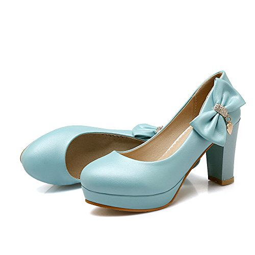 VogueZone009 Women's Solid Blend Materials High-Heels Pull-On Round Closed Toe Pumps-Shoes Blue QN3VEt2i0