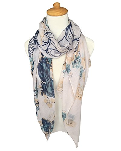 GERINLY Soft Shawl Scarf: Rosa Chinensis Print Beach Wrap For Hawaiian Vacation (White)