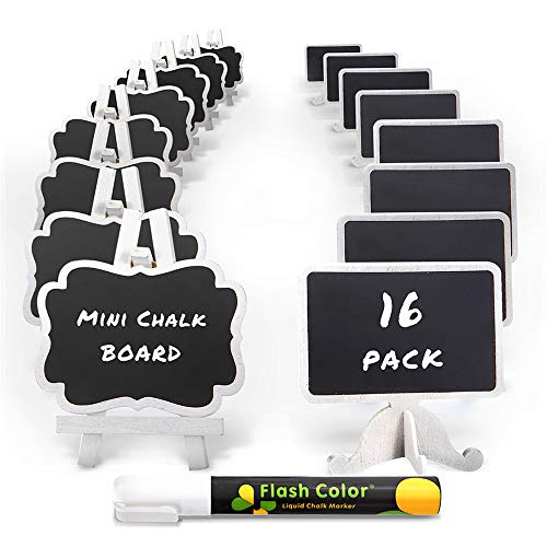 Mini Chalkboard Label Signs 16 Pack with Easel Stand Design, Small Chalk Blackboards for Food and Table Numbers, Best Rustic Decoration for Weddings and Birthday Parties, 2 Design Party Supplies]()
