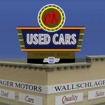 5481 Lg Ideal OK Used Cars Animated & Lighted Billboard by Miller Signs