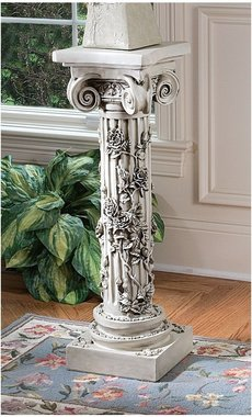 Wraped In Beauty Rose Embellished White Roman Column home garden Pedestal