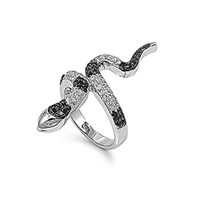 nice Black Mamba Snake Cubic Zirconia Ring Sterling Silver 925 on sale
