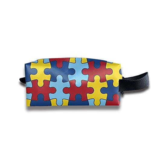 Durable Zipper Storage Bag Makeup Handbag Color Jigsaw Puzzle Toiletry Bag With Wrist Band