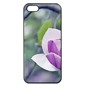 CaseSuper Magnolia T6 Designs Flowers Apple iPhone 5S Seamless Case (Black)