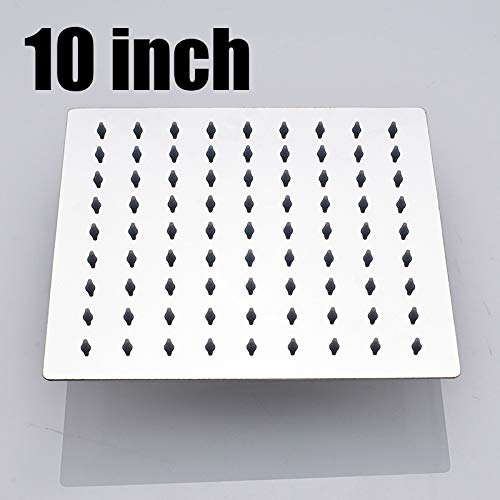 A 10inchsquare GFFXIXI Polished Wall Mounted Square Rain Shower Head Stainless Steel Hose Wall Shower Arm Round Style,B,12inchsquare