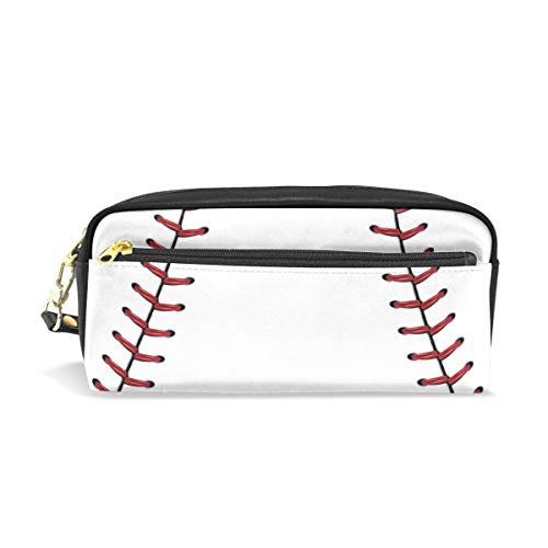 TropicalLife Sport Baseball Pencil Case with Zipper PU Leather Large Capacity Stationery Pouch Cosmetic Makeup Bag
