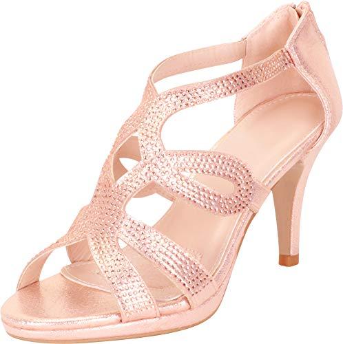 - Cambridge Select Women's Cutout Crystal Rhinestone Platform Mid Heel Dress Sandal,9 B(M) US,Rose Gold Glitter