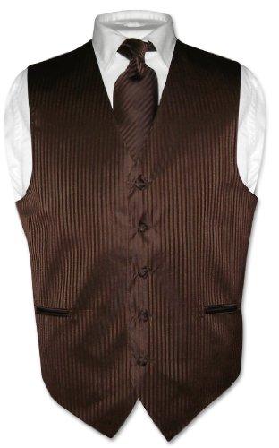 Men's Dress Vest NeckTie CHOCOLATE BROWN Color Striped Design Neck Tie Set sz XL
