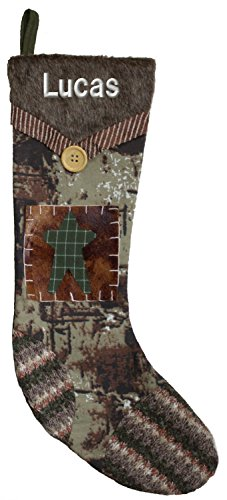 Camo Stocking with Faux Fur Cuff and Snowman Applique Custom Embroidered With (Personalized Snowman Christmas Stocking)