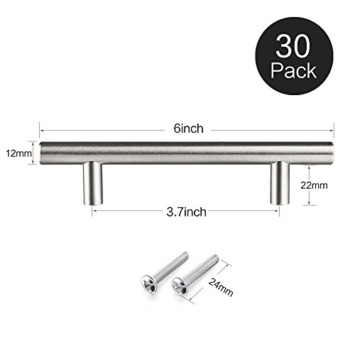 12MM Stainless Steel, Bar Handle Pull: Fine-Brushed Satin Nickel Finish | Kitchen Cabinet Hardware / Dresser Drawer Handles (6 inches, Pack of 30)