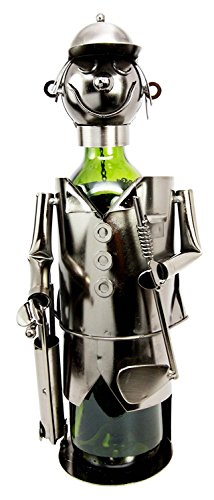 Golfer Wine Caddie - Atlantic Collectibles Professional Golfer With Golf Club and Caddy Bag Hand Made Metal Wine Bottle Holder Caddy Decor Figurine 13.5