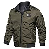 MIS1950s Men's Motorcycle Jacket Autumn Winter Two-Sided Wear Breathable Military Clothing Tactical Outwear Stand Collar Baseball Coat