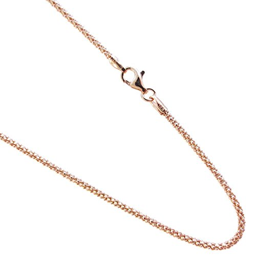 Rose-gold Plated Over Sterling Silver Chain Pop-corn Necklace. 14,16,18,20,22,24,30 Inches (20 Inches)