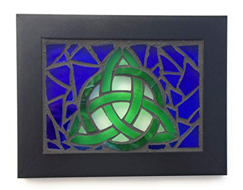 Celtic Trinity Knot Stained Glass Mosaic Art Panel in Frame 5 x 7 (Blue Background)