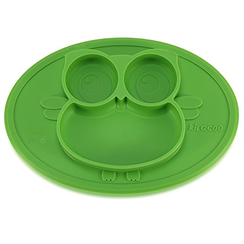 Kirecoo Baby Placemat Owl Round Silicone Suction Plates for Children, Kids, Toddlers,Kitchen Dining Table for Restaurant with Built in Plate and Bowl (Green) (Toddler Silicone)