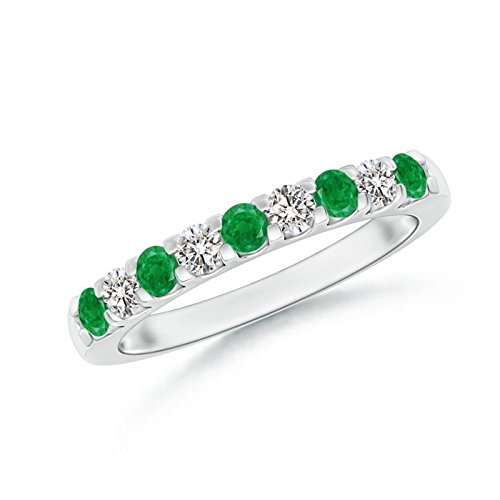Shared Prong Emerald and Diamond Half Eternity Band in Platinum (2.5mm Emerald)