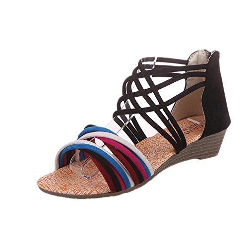 plage Sandales de Sandales Plates Bohème Femmes Noir Chaussures Lalang xXnTA7q