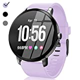 Sport Fitness Tracker Watch Waterproof for Android/iOS Women, Women's Smartwatch with Heart Rate Blood Pressure/Oxygen Monitor Sleep Music Play Purple Tape HD Colorscreen Father's Day Gifts for Women