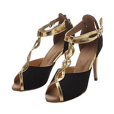 Nere Samba Scarpe Salsa trasversale donna pelle Swing buckleCustomizable Oro Jazz scarpe inferiore da personalizzati latino tracolla di ballo morbida floccaggio metallo Heel Moda q1aw6W