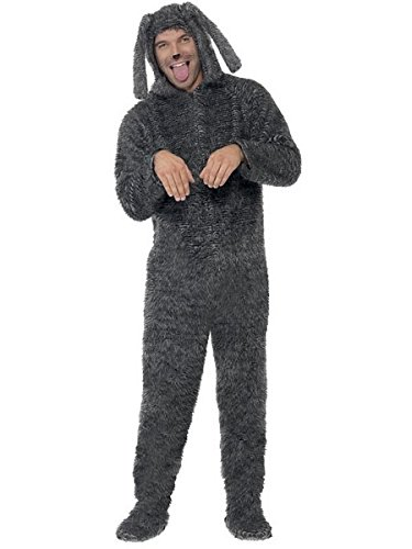 Smiffys Men's Fluffy Dog Costume, Hooded All in One, Party Animals, Serious Fun, Size L, -