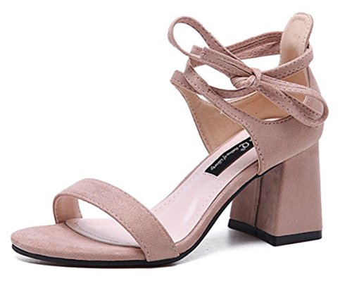 LINYI Womens High Heels Suede Round Head Sandals Hollow Open Toe Chunky Heel 2018 Summer New Pink 8fAe0xZ