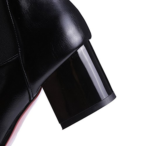 AllhqFashion Womens Solid Kitten-Heels Pointed Closed Toe PU Pull-On Boots Black yztIc7D