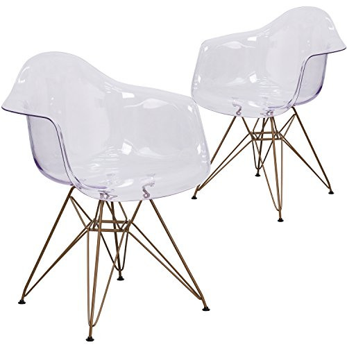 Flash Furniture 2 Pk. Allure Series Transparent Side Chair with Gold Frame