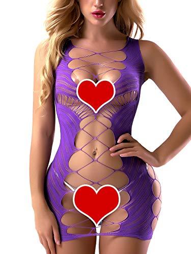 FasiCat Sexy Lingerie for Women Fishnet Halter Chemise Deep V Hot Mesh Mini Dress Bodysuit -