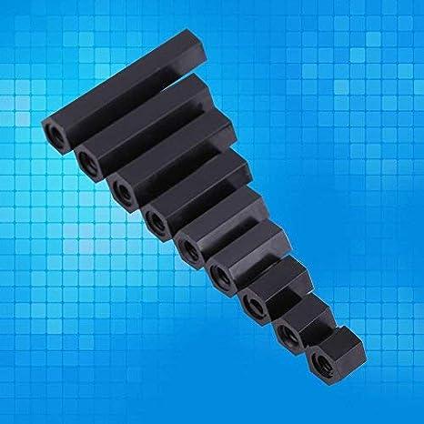 100 distanziali esagonali filettati M3 in nylon nero con scatola di plastica M3*6 Akozon