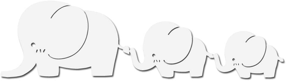 """Milk Mug Designs Cute Elephant Family Decal Sticker - White 5"""" Vinyl Decal for Car, MacBook, or Other Laptop"""