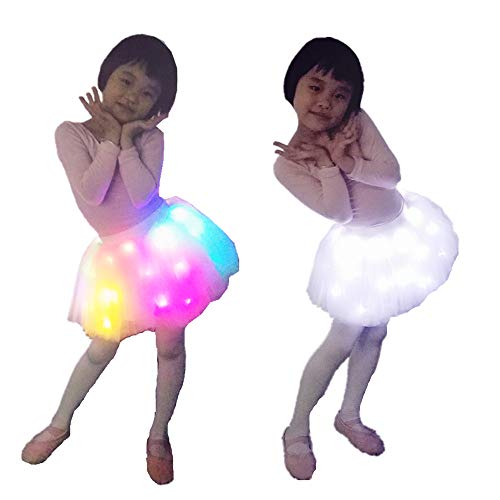 SHINYOU Girls' Tutu Skirts, Birthday Outfit LED Light Up Skirt Ballet Yarn for Christmas Party (White 4~5Y)]()