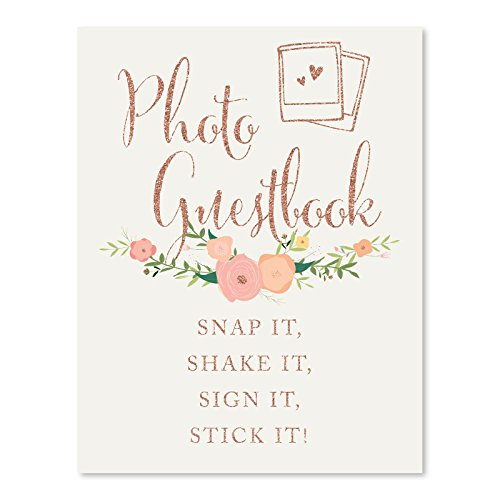 Andaz Press Wedding Party Signs, Faux Rose Gold Glitter with Florals, 8.5x11-inch, Photo Guestbook Snap It, Shake It, Sign It, Stick It, Polaroid Sign 1-Pack, Colored Decorations